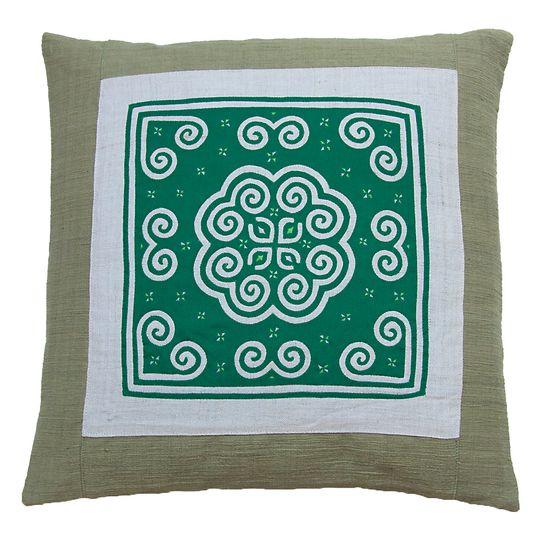 Hmong Accent Cushion - Green on Green, Tammachat /// TAFA Market, Green Collection /// www.tafaforum.com...