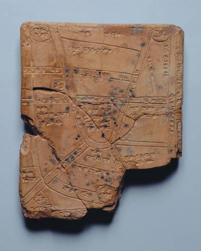 Nippur Map 1400 BCE    The oldest known map.
