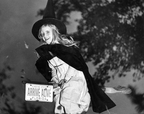 Leslie Dughi dressed as a witch for Halloween in Tallahassee, Florida