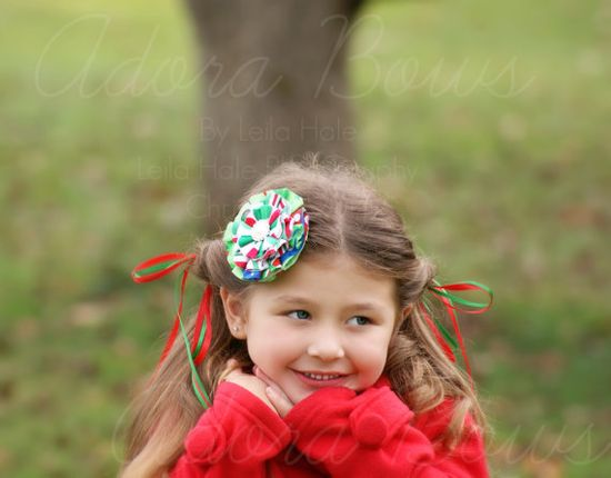 Pretty handmade fabric flower in christmas by AdoraBowsByLeilaHale, $7.50
