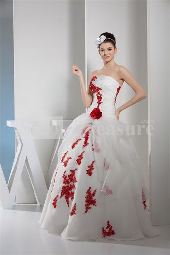 White Apple Princess Natural Strapless Handmade Flowers Princess Wedding Dress
