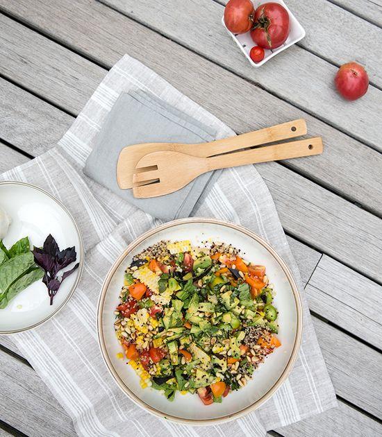 tomato + corn + avocado + quinoa salad