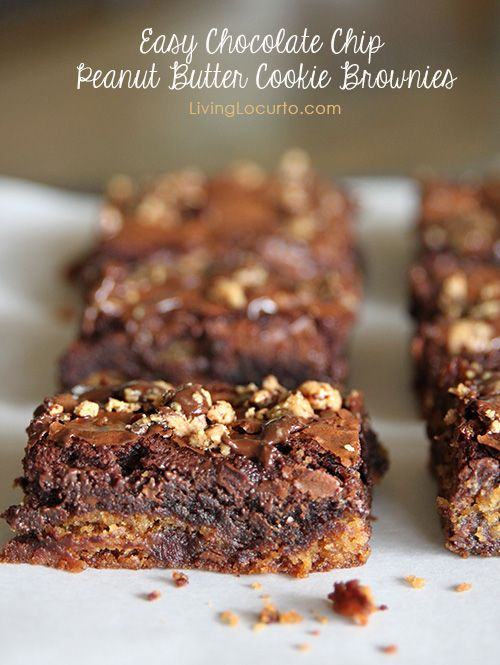 Easy Chocolate Chip Peanut Butter Cookie Brownies by Amy at LivingLocurto.com #Chocolate #brownies