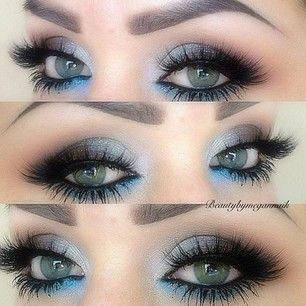 Grey and blue eye makeup