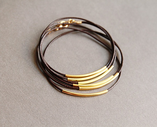 Leather and Gold Tube Wrap Bracelet. #RachelBall #elephantine