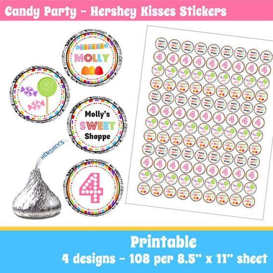 Candy Birthday Party Hershey Kisses  Labels by eventfulcards
