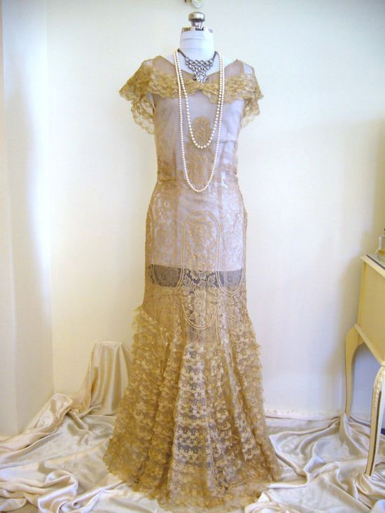 Early 1930s French Lame Lace Ornate Wedding Gown  #vintage #1930s