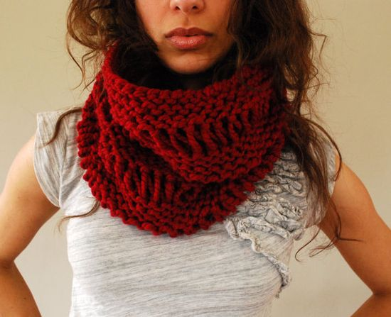 fall chunky hand knit cowl - $35.00