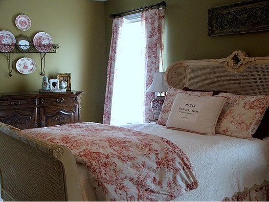 Red toile bedroom