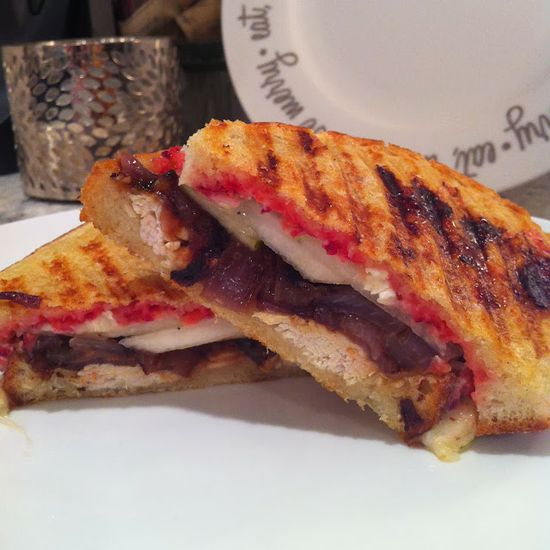 peace. love. & good food.: Turkey, Pear and Brie Paninis with Caramelized Onions + Cranberry Relish