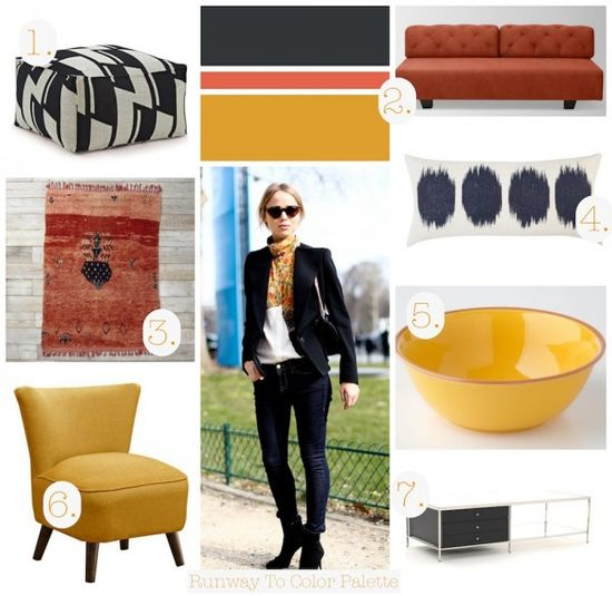 Decorate using this gorgeous color palette inspired by some seriously cool street style. I love when fashion and decor meet.-These are my colors in my living room