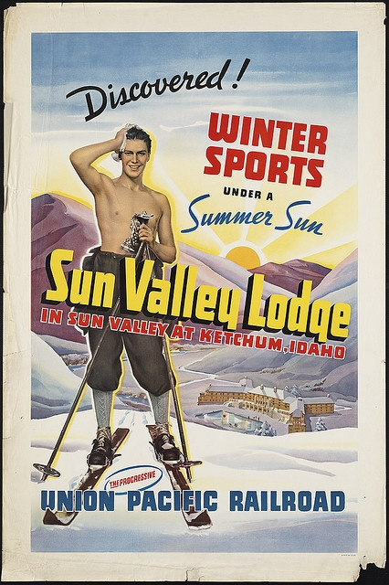 """""""Winter Sports Under a Summer Sun"""", from the Boston Public Library's collection of vintage travel posters."""