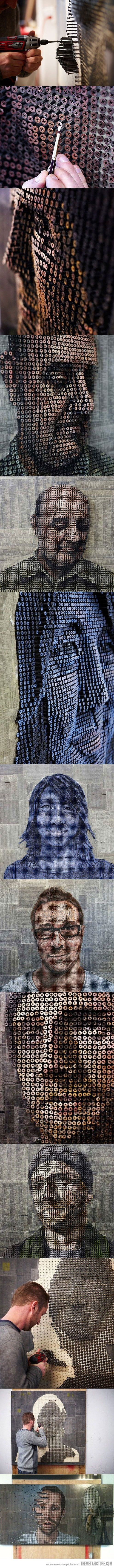 3D Portrait made with screws.  This is  extremely cool design.  The amount of detail, drive, and planning that had to go into each one of these pictures is astounding.  I feel the coolest thing about this is how the screws are not all the sam level; it creates a more dynamic and a singularity to the person