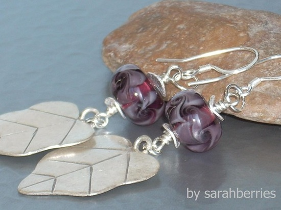 Sterling Silver & Lampwork glass earrings