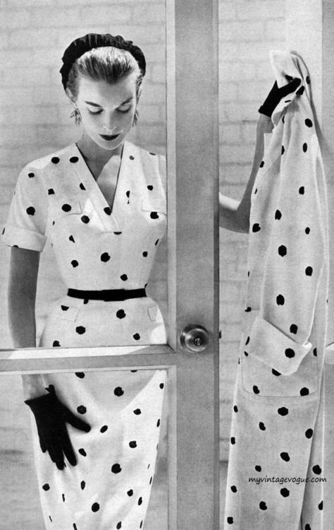 A timelessly wearable polka dot daytime look from the pages of Harper's Bazaar, January 1957. #vintage #dress #coat #polka_dots #1950s #fashion