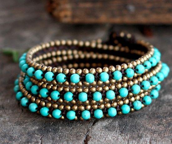 Blue Wrap Around Brass Bracelet/Anklet by brasslady on Etsy, $18.00