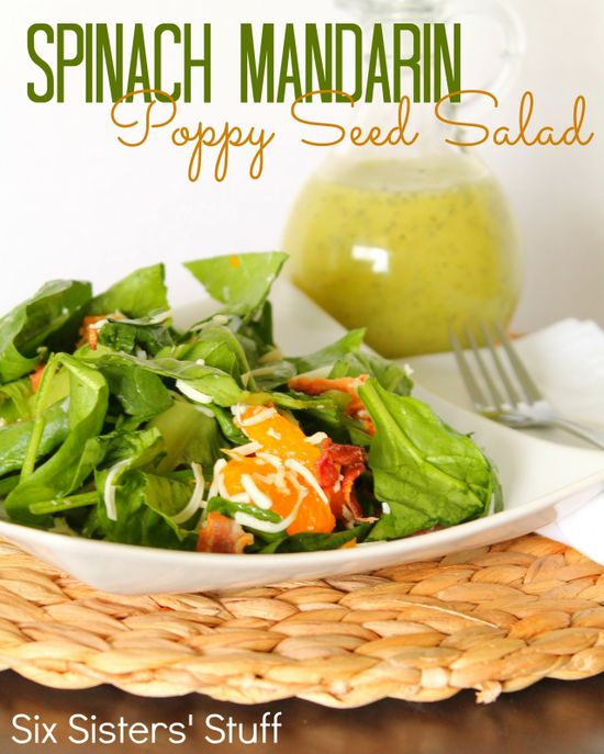 Spinach Mandarin Poppy Seed Salad from SixSistersStuff.com.  This salad is so simple to make and is a huge crowd pleaser! #recipes #salad