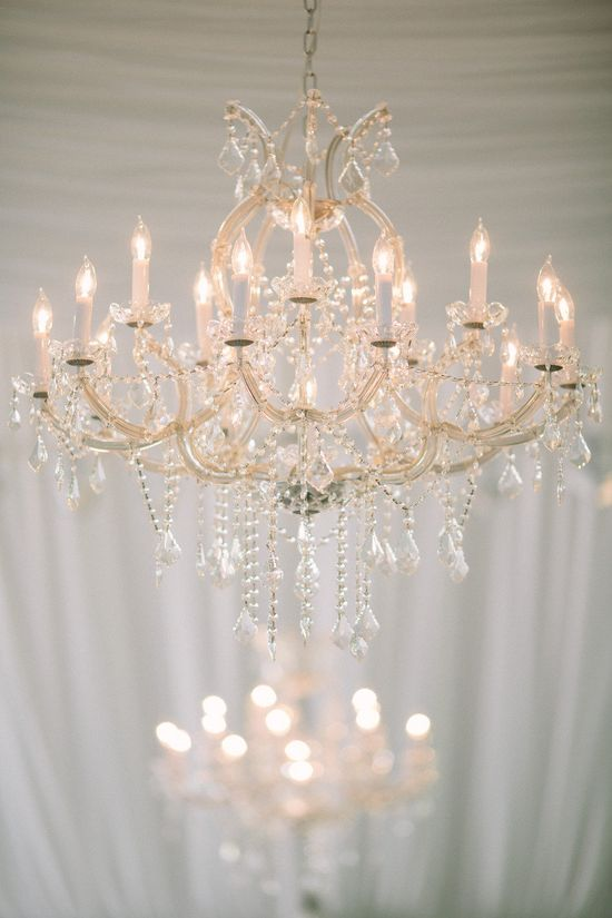 sparkling #chandeliers hanging over the reception