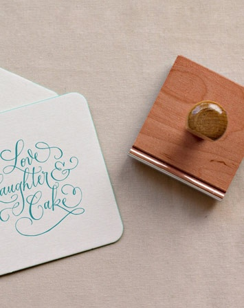 Love, Laughter & Cake stamp from Shop Antiquaria on sale until 5/7. $24