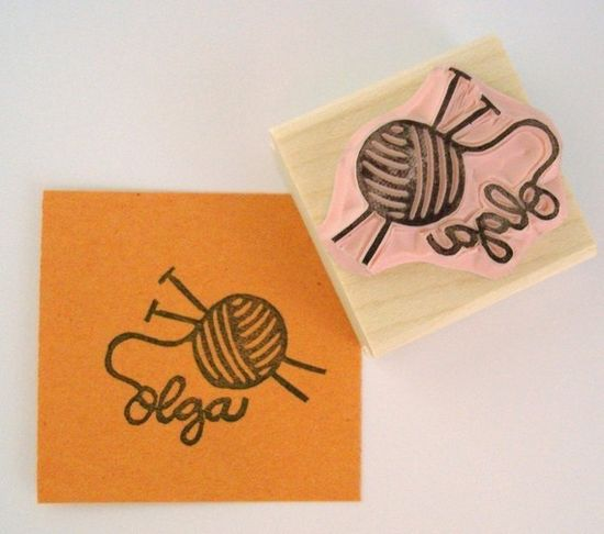 Knitting Personalized Hand Carved Rubber Stamp