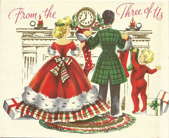 Merry Christmas from the three of us. #vintage #Christmas #cards