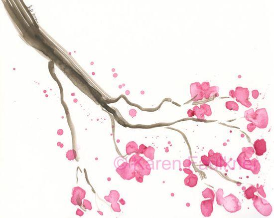 Cherry Blossoms watercolor by Karen Faulkner on Etsy