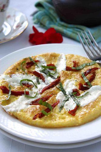 Caprese Frittata with Sun-Dried Tomatoes, Fresh Mozzarella & Basil