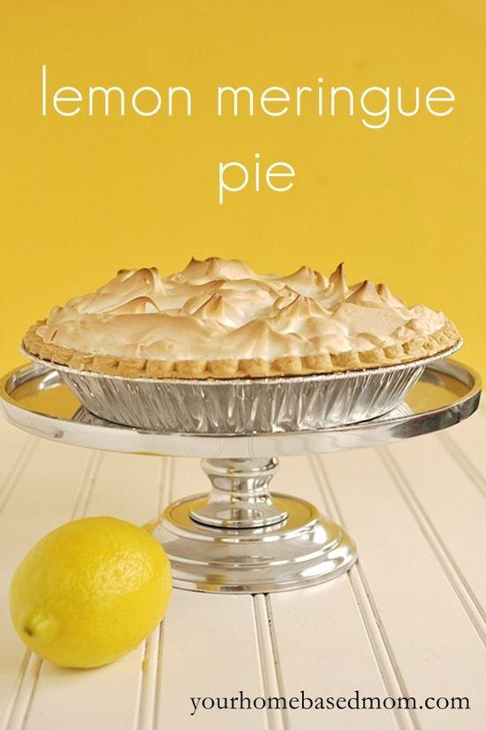 lemon meringue pie @yourhomebasedmom.com  #pies,#lemon,#recipes