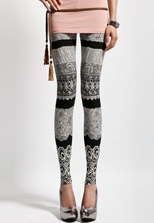 Vintage Style Casual Leggings Fashion Black