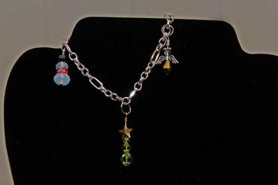 Christmas Charm Bracelet w/ 3 Handmade Charms by GoodnessShop, $15.00