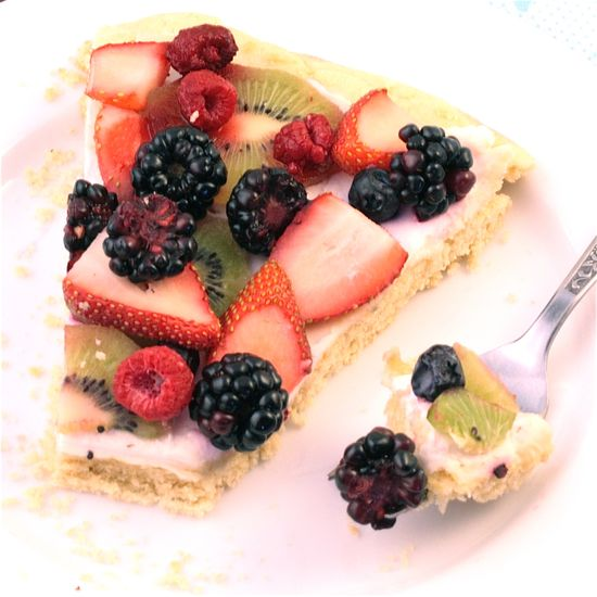 """Fruit Pizza w/ """"cream cheese"""" and a sugar cookie crust"""