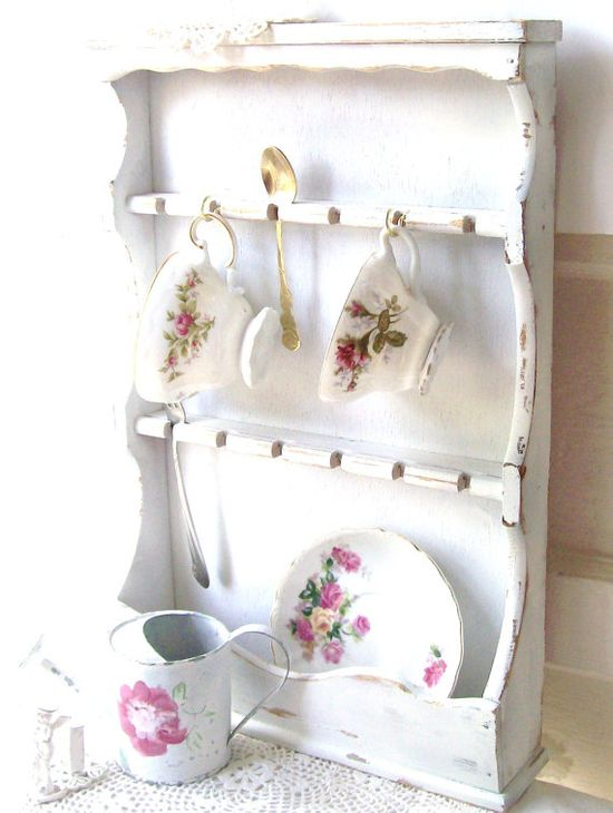 Romantic French Country Cottage Shelf Shabby Chic White Decor