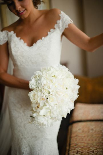 classic white bouquet + lace gown