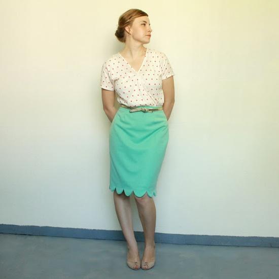 scalloped hem skirt tutorial