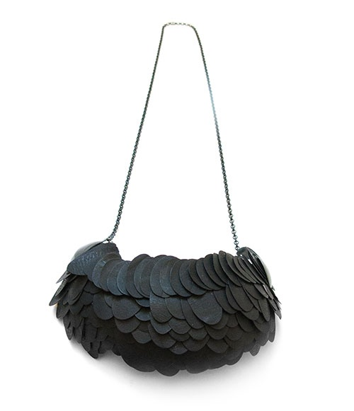 Karin Roy Andersson  Necklace: Catching Big Fish 2013  Recycled plastics, textile, silver, paint  pendant:11 x 4.5 x 2.5 cm, length: 27 cm