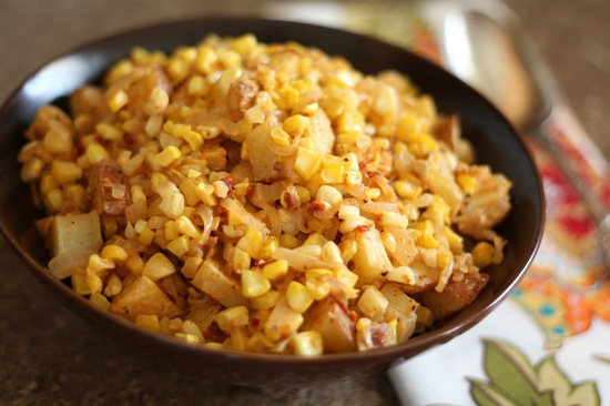 Chipotle Corn and Caramelized Onion Potato Salad [Barefeet In The Kitchen]