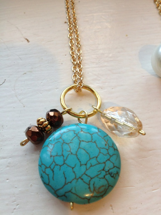 Beautiful handmade charm necklace turquoise by WiredJewelrybyJenna, $15.00