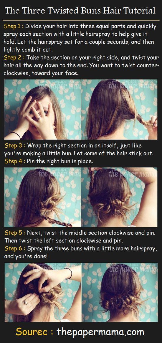 The Three Twisted Buns Hair Tutorial