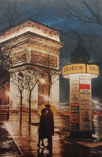 Arc Du Triomphe, Paris - Lovers Kiss In Rain Vintage Photo 1960s Night