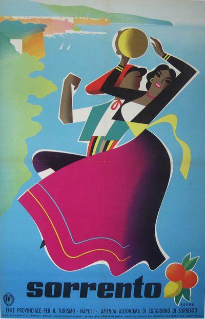 Italian Travel Poster by Mario Puppo, 1 9 5 5, Sorrento.
