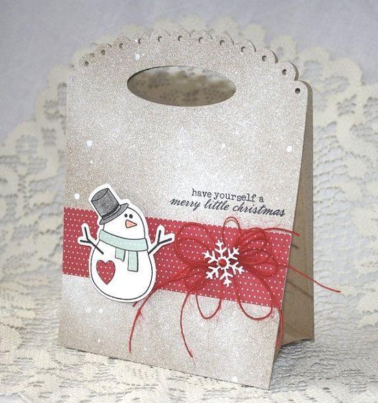 Handmade Gift Bag  Christmas Holiday Snowman by