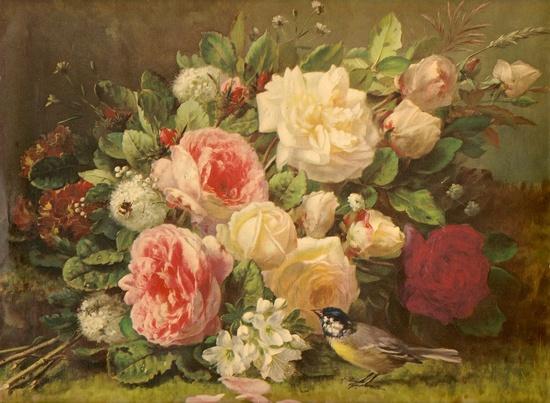 vintage rose painting w/bird