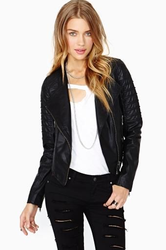 Nasty Gal Quilted Leather Moto Jacket