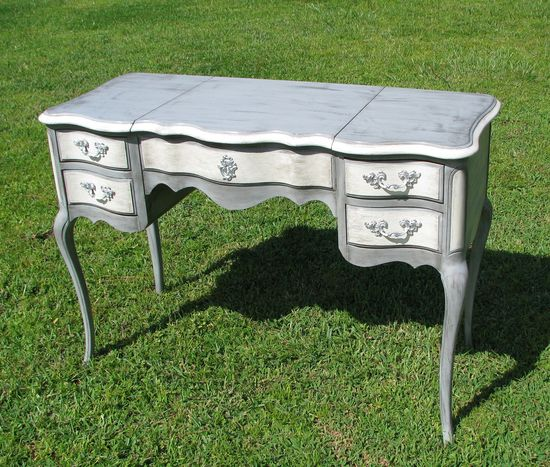 Shabby Chic Painted Furniture Desk Vanity Gray and White French Provincial Style