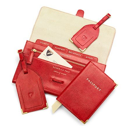 Classic Plain Travel Collection in Red Lizard & Cream Suede