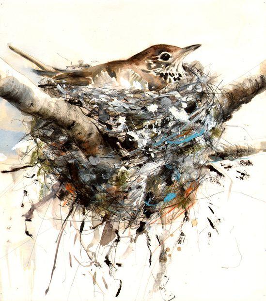 "Saatchi Online Artist: Lucy Newton; Paint, Mixed Media ""songthrush"""