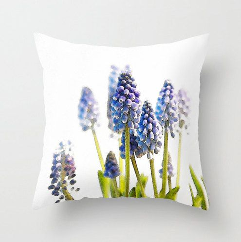 Hyacinth, Watercolor, Garden, Decorative Throw Pillow