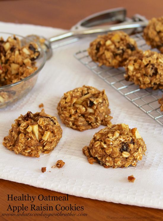 Healthy Oatmeal Apple Raisin Cookies are a skinny way to satisfy your sweet tooth! by www.whatscookingw... #recipes #cookies