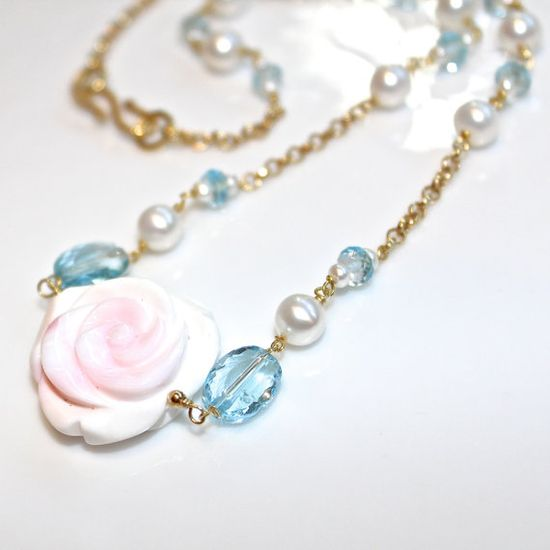 Swiss Blue Topaz Necklace Carved Conch Rose Necklace by FizzCandy #rose #topaz #necklace #jewelry #station #fizzcandy