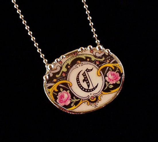 Broken China Jewelry necklace antique C initial monogram by Laura Beth Love